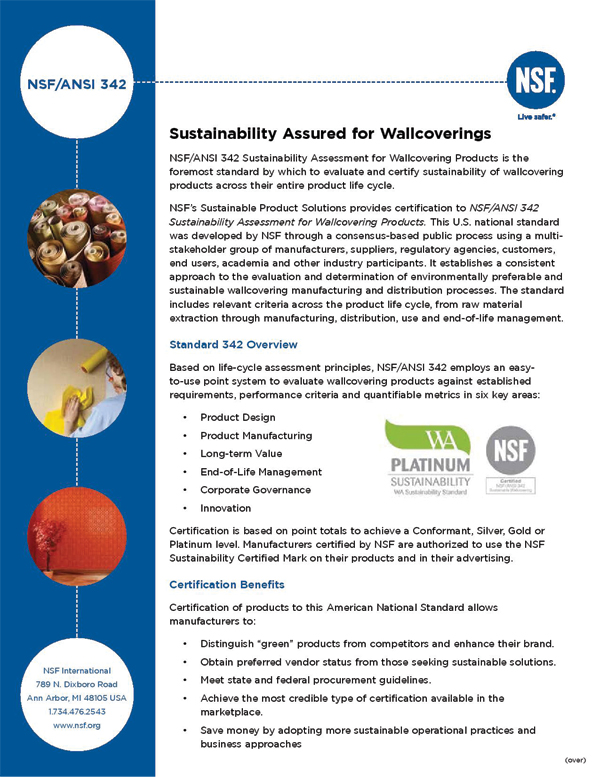 NSF/ANSI<br/>Sustainability Assured for Wallcoverings