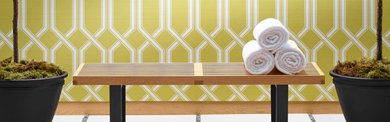 Yellow Wallcovering, Shima Trellis Commercial Vinyl Wallcovering, DeNovo Wall from Levey