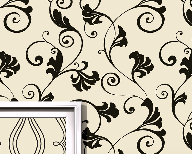 Cream and Black Wallcovering, Absinthe Commercial Wallcovering from Levey