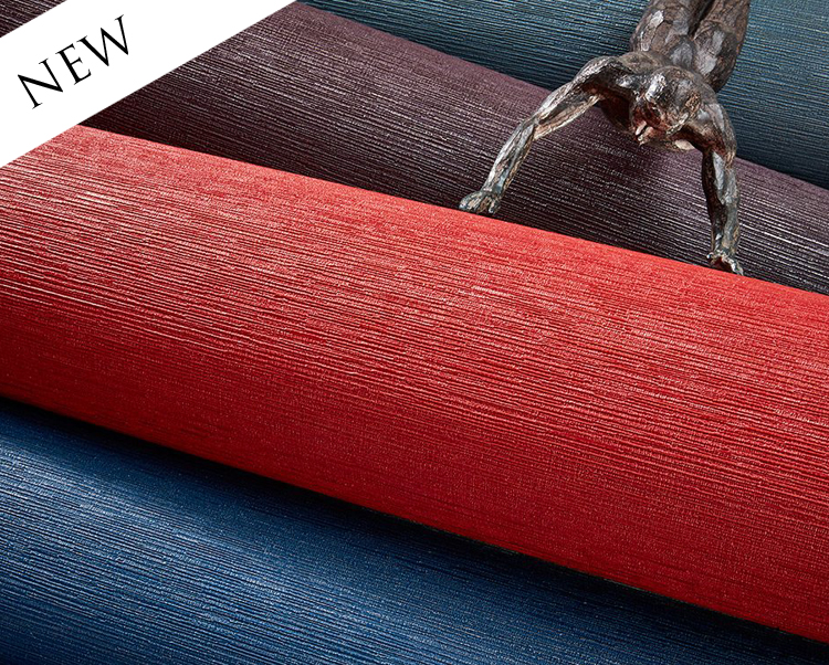 Red Wallcovering, Mokara Commercial Vinyl Wallcovering from Levey
