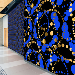 Blue Wallcovering, LeveyArt Custom Digital Commercial Wallcovering