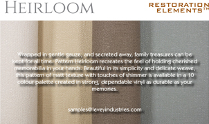 Heirloom Wallcovering, Levey Wallcoverings and Architectural Finishes