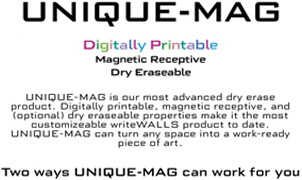 UNIQUE-MAG Digitally Printable Dry Erase Wallcovering, WriteWallsCanada, Levey Wallcoverings and Architectural Finishes