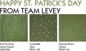 Happy St. Patrick's Day, Green Wallcovering from Levey Wallcoverings and Architectural Finishes