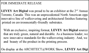 ARCHITECT@WORK 2018, Levey Wallcoverings and Architectural Finishes