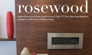 Rosewood SanFoot Wood Veneer Wallcovering, Levey Wallcoverings and Architectural Finishes