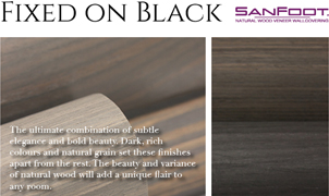 Fixed on Black, SanFoot Wood Veneer Wallcoverings, Levey Wallcoverings and Architectural Finishes