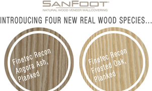 SanFoot Wood Veneer Wallcovering Introductions, Levey Wallcoverings and Architectural Finishes