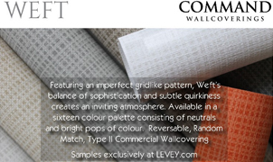 Weft Wallcovering from Levey Wallcoverings and Architectural Finishes