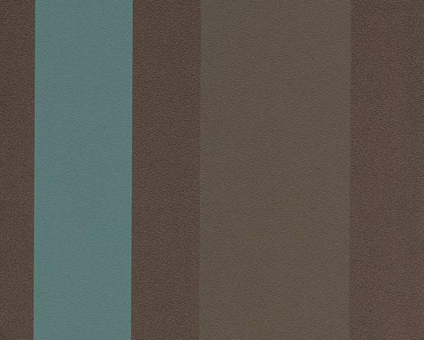 Brown and Turquoise, Wallcovering Cabana Stripe Commercial Vinyl Wallcovering from Levey