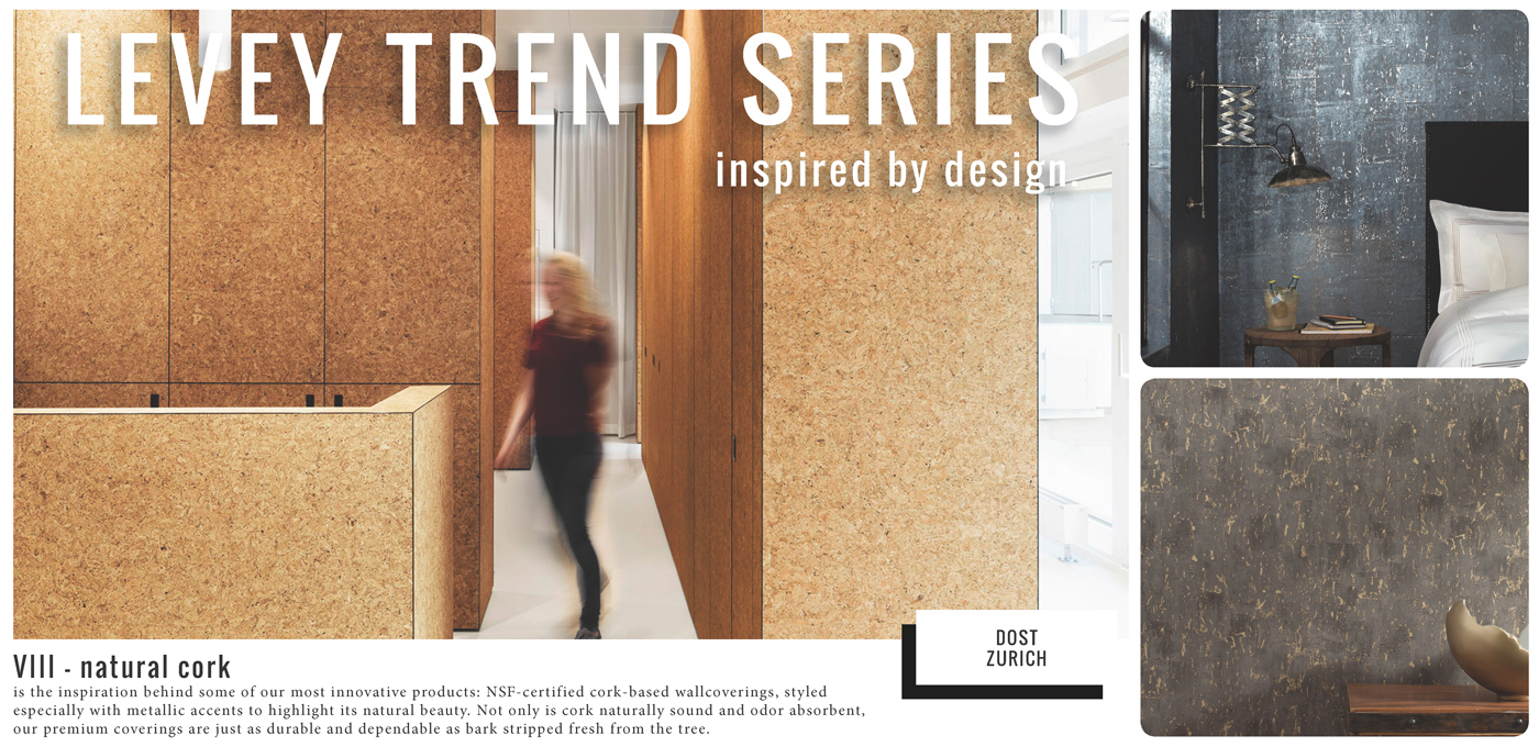 Natural Cork Commercial Wallcovering from LEVEY