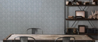 Blue Wallcovering, District Commercial Wallcovering, Restoration Elements from Levey
