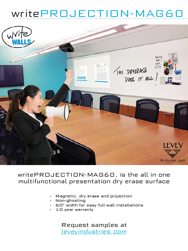 WriteProjection-MAG60 Dry Erase Wallcovering, LEVEY