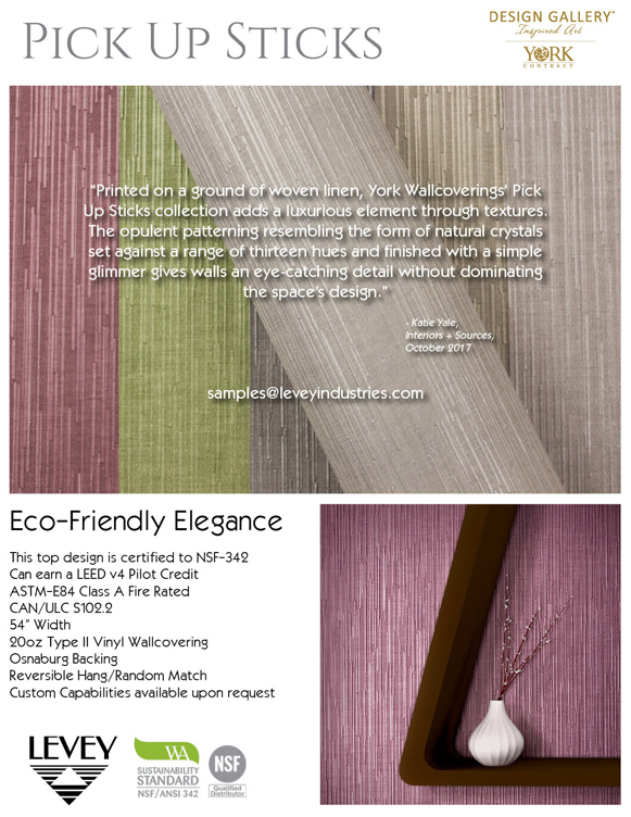 Pick Up Sticks Wallcovering featured in Interiors and Sources magazine, from Levey Wallcoverings and Architectural Finishes