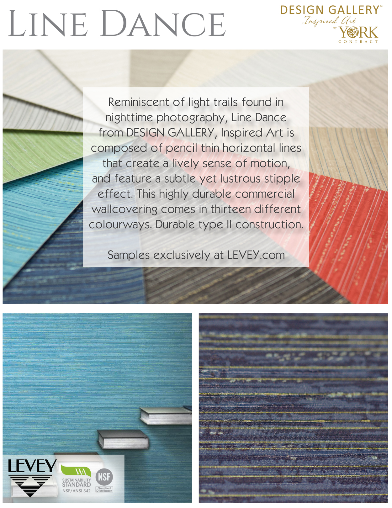 Line Dance Wallcovering from Levey Wallcoverings and Architectural Finishes