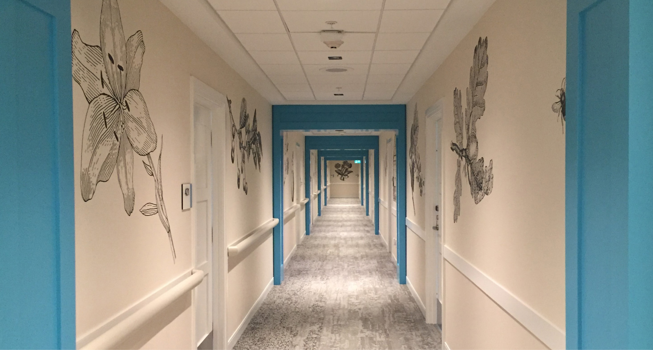 Revera, featured Client Project, Hallway Featuring Custom Digital Wallcovering, LEVEY Commercial Wallcoverings and Architectural Finishes