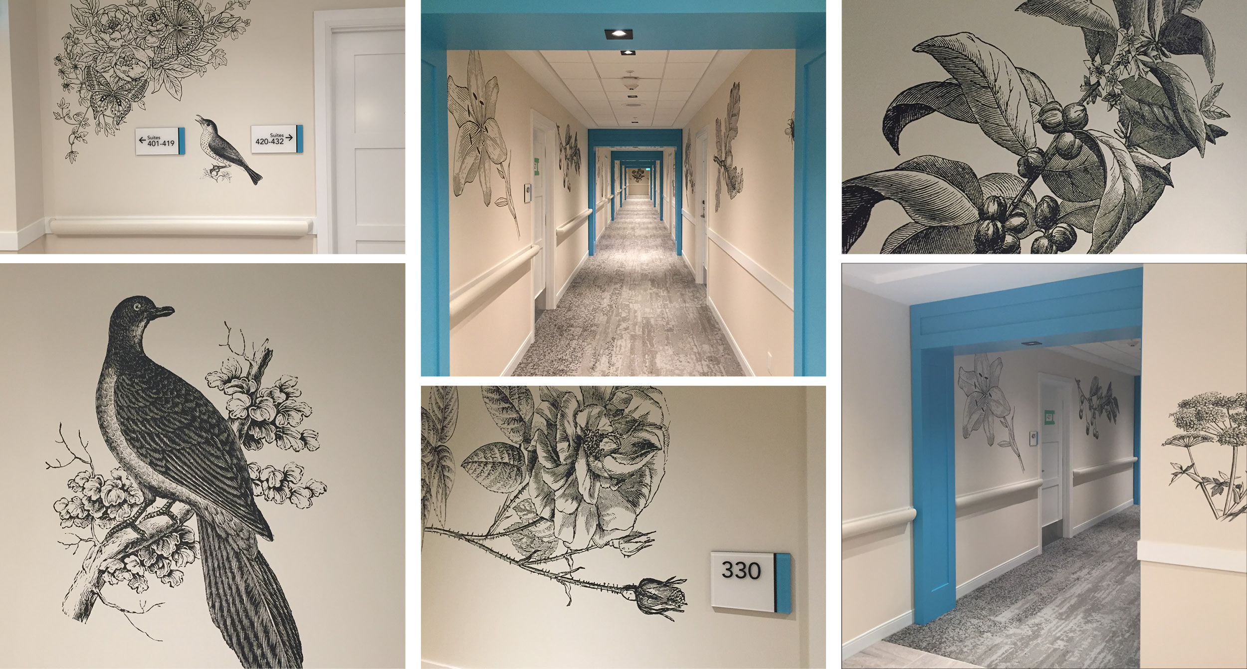 Revera Hallway Featuring LEVEYArt Custom Digital Wallcovering, LEVEY Commercial Wallcoverings and Architectural Finishes