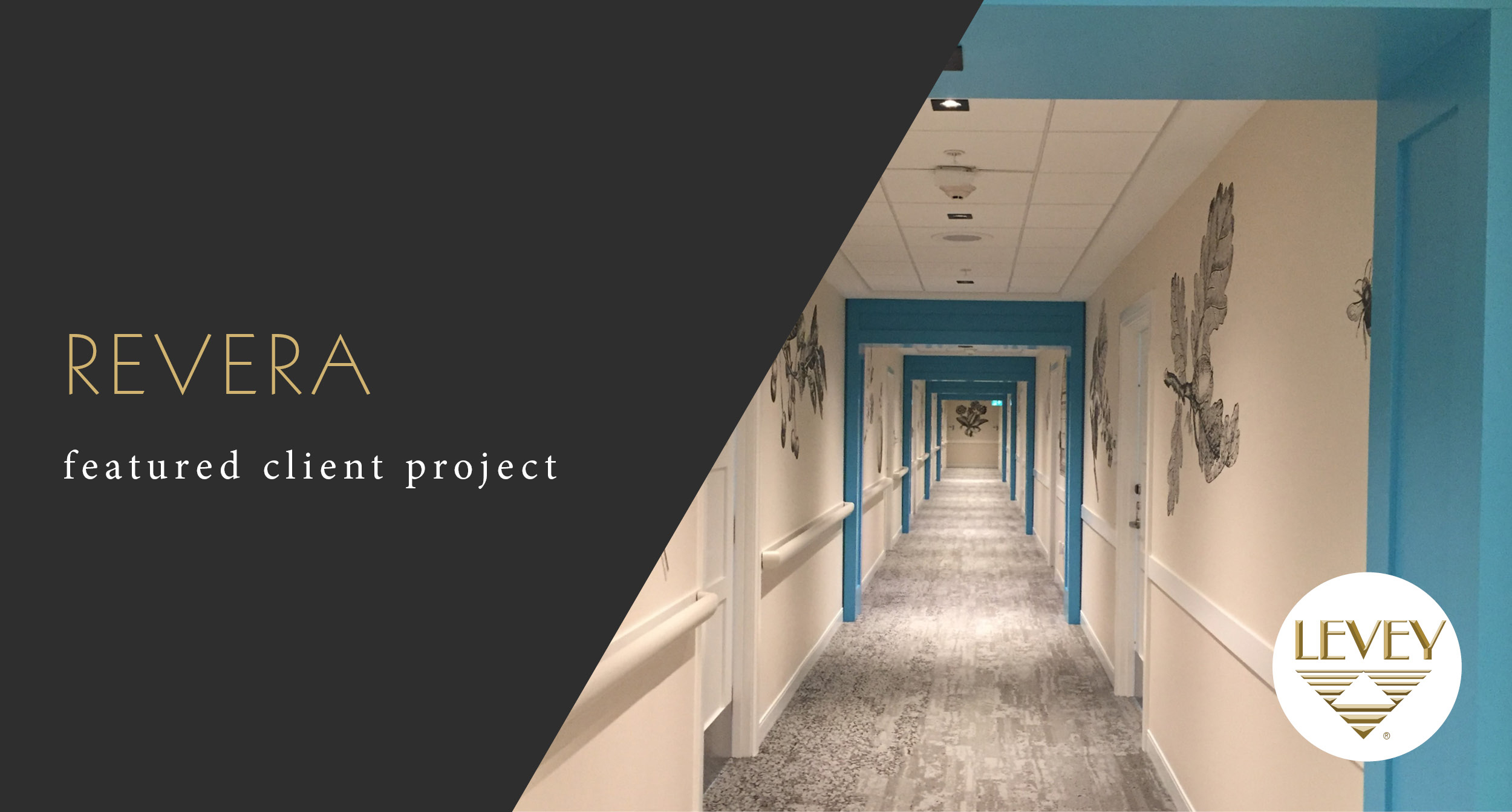 Revera, featured Client Project, Hallway Featuring LEVEYArt Custom Digital Wallcovering, LEVEY Commercial Wallcoverings and Architectural Finishes