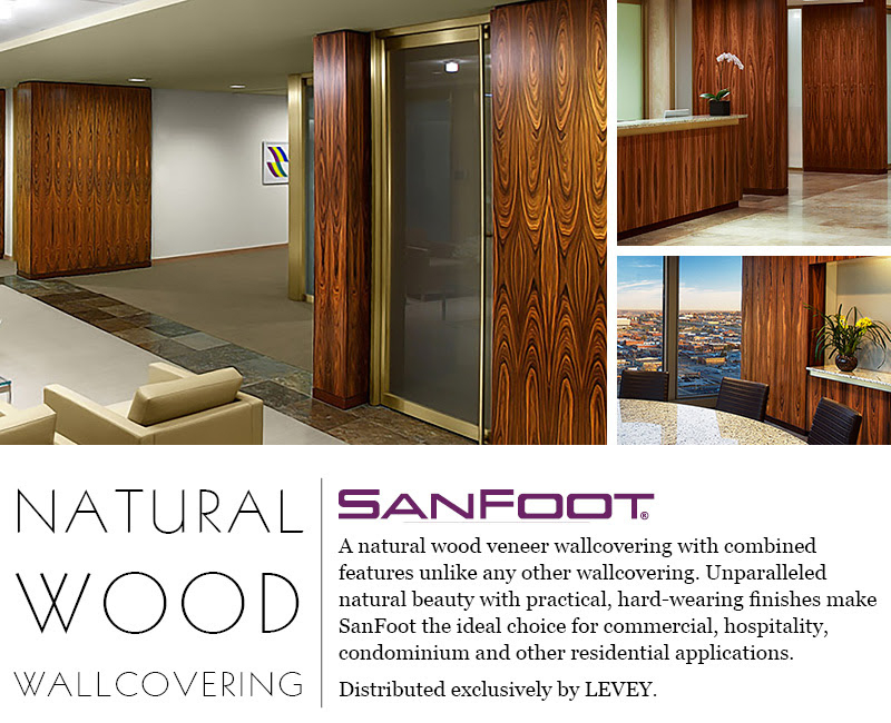 SanFoot Natural Wood Veneer Wallcovering, LEVEY Commercial and Architectural Finishes