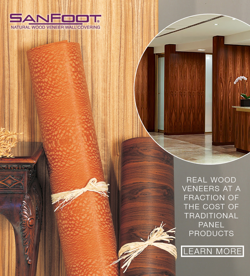 SanFoot wooD veneer wallcovering, sustainable and cost effective, LEVEY Commercial and Architectural Finishes