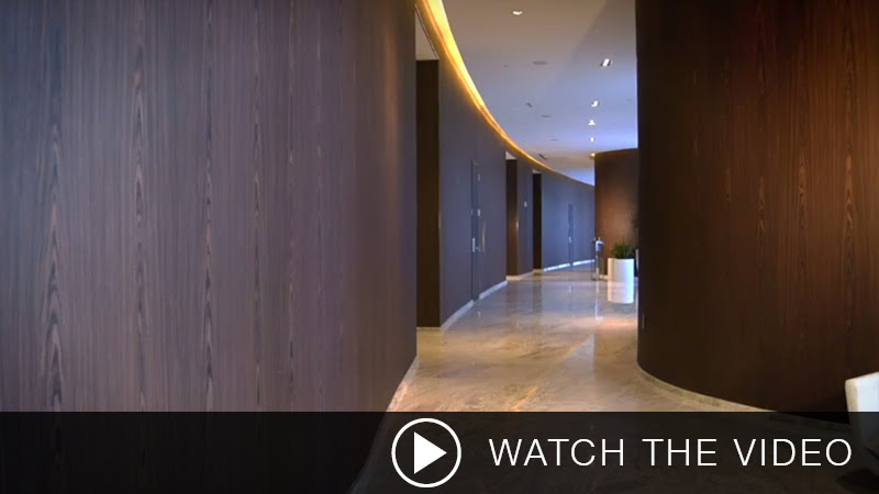 SanFoot Natural Wood Veneer Installation Gallery Video, LEVEY Commercial and Architectural Finishes