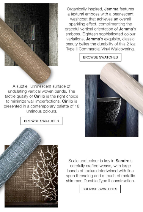 Jemma, Cirillo and Sandro Wallcovering from DeNovo Wall, LEVEY Commercial Wallcoverings and Architectural Finishes, Product List